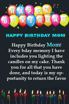 Best Birthday Wishes For Mom Quotes Relationships 58 Ideas Famous Birthday Quotes, Happy Birthday Mom Quotes, Birthday Cards For Mother, Birthday Wishes For Mom, Happy Birthday For Him, Happy Mother Day Quotes, Birthday Wishes Messages, Cute Birthday Gift, Birthday Blessings