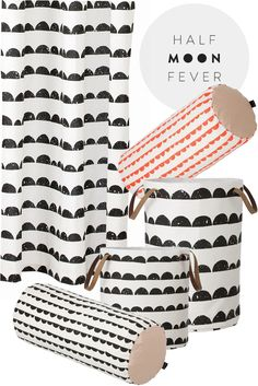 Inspiration for hand stamped curtains or pillows- Ferm Living Door Sixteen, Wallpaper Stencil, Diy House Projects, New Living Room, Scandinavian Interior, Black Fabric, Home Textile, Diy Clothes, Printing On Fabric