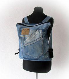 Unisex denim backpack recycled jeans hipster backpack unisex