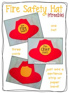 A Cupcake for the Teacher: Fire Safety Hat {Craftivity & Printables} Plus a Freebie Fire Safety Crafts, Fire Safety For Kids, Fire Safety Week, Child Safety, Preschool Fire Safety, Summer Safety, Preschool Lessons, Preschool Activities, Group Activities
