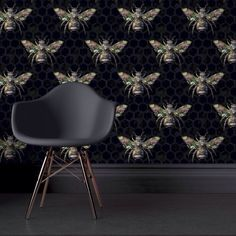 Intricately designed wallpaper from Carmine Lake for bee and insect lovers and those wanting something a little bit different