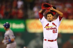 Starting pitcher Carlos Martinez reacts after giving up a three-run home run to A.J. Ellis of the Los Angeles Dodgers in the fifth inning...Cards lost the game 5-1...and Martinez lost in his starting pitching debut.  8-08-13