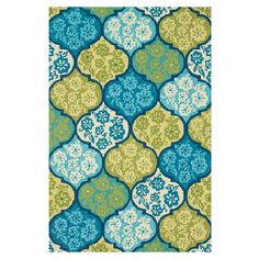 Bring a bright pop of color to your foyer or patio with this hand-woven rug, showcasing a quatrefoil ogee motif in sea.     Product: