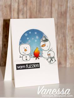 Countdown - Giveaway time + Guest Designer Vanessa Amann Part 2 Warm Fuzzies, Cute Cards, Clear Stamps, Giveaway, Blog, Card Making, Paper Crafts, Camp Fire, Smile