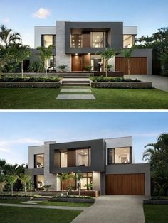 Tiered landscaping leading to the front door of this modern home adds interest to the curb appeal. Office houses design plans exterior design exterior design houses home architecture house design houses Small Modern House Exterior, Small Modern Home, Dream House Exterior, Modern House Plans, Modern House Exteriors, Modern Spaces, Modern Exterior House Designs, Modern Design, Modern House Colors