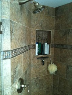New Tampa, Florida Bathroom Shower & Floor Tile Remodel   (niche, rope & accent band)