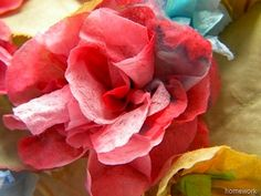 flowers made from painted paper napkins found at Homework