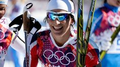 Women's Skiathlon Marit Bjorgen (NOR) beams as she wins her first gold medal of the Sochi 2014 Olympic Winter Games at Laura Cross-Country Ski and Biathlon Center.