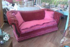 antique sofa couch shabby victorian chic red velvet vintage cottage hot pink tufted fringe. $1,195.00, via Etsy.