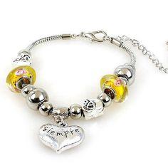 Zinklegierung European Armband, mit Messingkette & Lampwork, mit Verlängerungskettchen von 5cm, Herz, plattiert, keine, frei von Nickel, Blei & Kadmium, 23x22mm, verkauft per ca. 7.5 Inch1 Strang - perlinshop.com