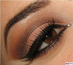 Makeup For Brown Eyes | using warm browns brings out the warmth in brown eyes, tight line the eyes with black to make the eyes look brighter and keep a brighter color on the lid to add light to the eye