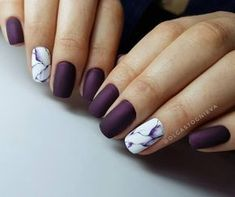 Installation of acrylic or gel nails - My Nails Plum Nails, Burgundy Nails, Matte Nails, Acrylic Nails, Dark Purple Nails, Purple Manicure, Purple Nail Art, Love Nails, My Nails