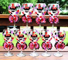 Minnie Mouse wine glasses.  Perfect for weddings or girls trips!