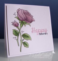 handmade card .... beautiful rose colored with Copics ... clean design ... like the bit of bling from the gem clusters ...
