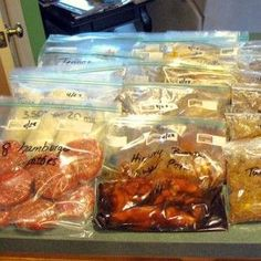 """Freezer Meals on the Cheap!  This lady is a genius!!! WOW! 4 hours, 46 meals, 95 dollars. Another pinner said, """"I started doing this earlier this year and cannot believe how much stress it has eliminated and how much better we are eating while saving money."""""""