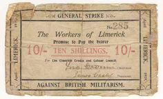 1919 Limerick Soviet 10 shilling note - well used example General Strike, Political Issues, Politics, Notes, Report Cards