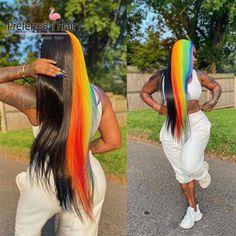 Rainbow Wig, Creative Hair Color, Straight Lace Front Wigs, Colorful Lace Front Wigs, Human Hair Lace Wigs, Human Wigs, Barbie Hair, Hair Game, Baddie Hairstyles