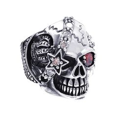 @Overstock - Sterling Silver Punk Skull Crown Star Cubic Zirconia Ring (Thailand) - Immortalized in sterling silver, red eyes gaze in this skull. Ellaborated with white cubic zirconia, this ring brings out the edgy side of your style.  http://www.overstock.com/Worldstock-Fair-Trade/Sterling-Silver-Punk-Skull-Crown-Star-Cubic-Zirconia-Ring-Thailand/7673976/product.html?CID=214117 $91.79