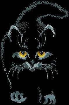 Black Cat not many stitches but striking Beaded Cross Stitch, Cross Stitch Charts, Cross Stitch Designs, Cross Stitch Embroidery, Cross Stitch Patterns, Pixel Pattern, Cat Pattern, Chat Crochet, Cat Quilt
