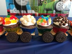 'Thomas' Cupcake Train – Six Clever Sisters - Cupcakes Train Birthday Party Cake, Thomas Birthday Parties, Thomas The Train Birthday Party, Cupcake Birthday Cake, Train Party, Car Party, 2nd Birthday, Birthday Ideas, Birthday Activities