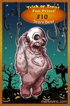Trick or Treat Fun Prizes #10. Scare Bear Doll.  Hugs 'n' mauling all around!