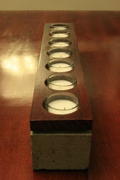 Concrete and Wood Seven Votive Candle Holder
