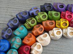 Day of the Dead Dia de los Muertos Sugar Skull Beads by InkandRoses13