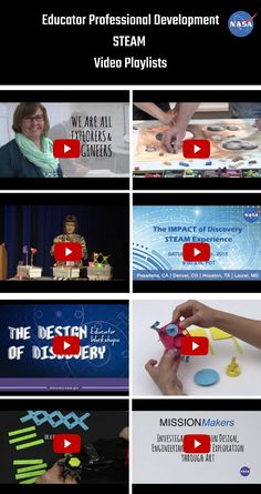 """Educator Professional Development STEAM Video Playlists: Watch hours of educator STEM and STEAM professional development at your leisure. Eight video playlists show teachers how to bring some of the missions of NASA's Planetary Mission Program to your classroom or out-of-school program. Media includes """"maker"""" videos that show how to lead students in mission design, engineering, and spacecraft exploration through art. STEM activities. STEAM activities. Engineering design."""