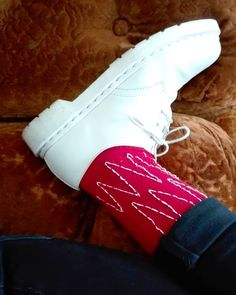 Hand embroidered sock by Pimped Rägs