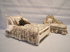 Miniature bed and chaise lounge