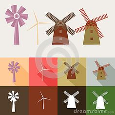 Set of windmill style with many various color and model