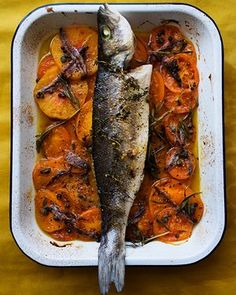 Ace of bass: baked sea bass with tomatoes and anchovies.