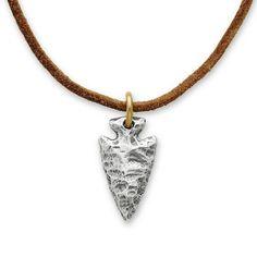Arrowhead Pendant on Rust Leather Cord #JamesAvery