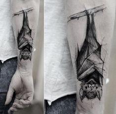 50 Bat Tattoo Designs Upside Down Bat Tattoo. This upside down bat tattoo is great to get. Body Art Tattoos, Tattoo Drawings, Sleeve Tattoos, Cool Tattoos, Bat Tattoos, Animal Sleeve Tattoo, Awesome Tattoos, Halloween Tattoo, Halloween Nails