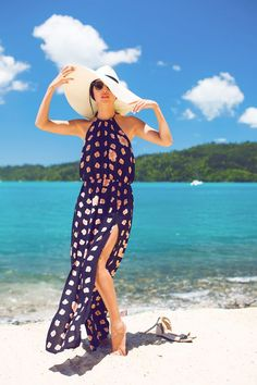 maxi dress for the beach with a sun hat