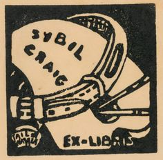 Bookplate of Sybil Craig (palette and dog collar), c. 1936