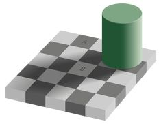 An optical illusion. The square A is exactly the same shade of grey as square B. See checker shadow illusion. Types Of Optical Illusions, Color Illusions, Illusions Mind, Art Optical, Illusion Pictures, Color Vision, Josef Albers, Damier, Mind Tricks