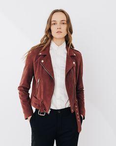 Rose Shrunken Moto. suede leather moto jacket . laer