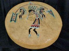 Tarahumara hand painted Kokopelli Spirit Drum