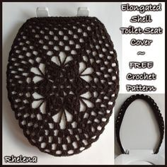 FREE crochet pattern for an Elongated Shell Toilet Seat Cover.