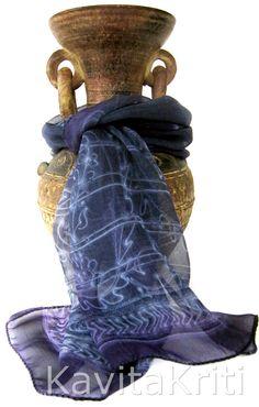 Indian Sari scarf, Hand painted silk scarf blue, silk chiffon by KavitaKriti, $42.00  http://www.etsy.com/listing/154366998/sari-scarf-hand-painted-silk-scarf-blue?ref=shop_home_active