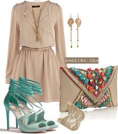 15 Mint Polyvore Combinations For Spring-kinda looks like Pocahontas' dress