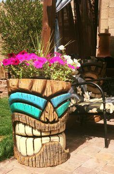 Flower pot tiki, Tikis, beach, surf, Polynesian, vintage, retro, Hawaiian, luau, backyard decorating, pineapple. Custom order yours today! Like us on Facebook.  Stoopid Tikis  https://www.facebook.com/Stoopidtikis/