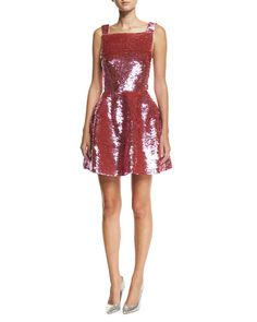 B40LY Oscar de la Renta Sleeveless Sequined Mini Dress