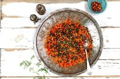 Spanish carrot and chickpea couscous salad. Recipe by Rachel de Thample - head of food at Abel & Cole