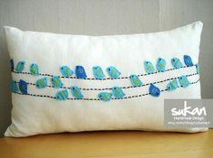 Birds On Wires Pillow Sukan / Decorative Pillows Baby Bedding Throw Pillows Blue Animal Birds Pillow Covers Accent Pillows Nursery Decor. via Etsy. Sewing Pillows, Linen Pillows, Diy Pillows, Decorative Pillows, Cushions, Throw Pillows, Accent Pillows, Lumbar Pillow, Pillow Ideas