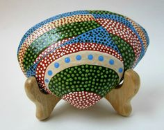 PAINTED SEASHELL and EASEL - Nature Art - Hand Painted Sea Shell - Painted Dots - Green Blue Red. $ 47.00,  beachseacrafts