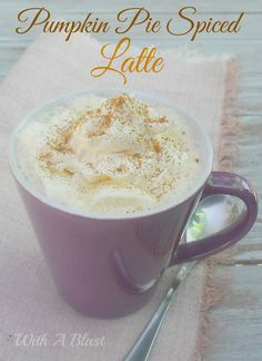 Easy way to make a latte! Pumpkin Pie Spiced Latte ~ Warm, frothy Latte spiked with Pumpkin Pie Spice ~ perfect cold weather drink Coffee Recipes, Pumpkin Recipes, Fall Recipes, Holiday Recipes, Non Alcoholic Drinks, Cocktails, Beverages, Yummy Drinks, Yummy Food