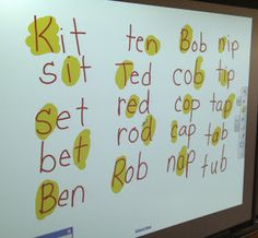 SMART Board activity for phonemic awareness. Teacher writes first word then highlights one letter that needs to be changed, next student creates a new word, on and on