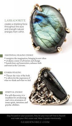 Healing Crystal Jewelry, Crystal Healing Stones, Crystals And Gemstones, Stones And Crystals, Labradorite Healing Properties, Crystal Meanings, Labradorite Ring, Cute Jewelry, Body Jewelry